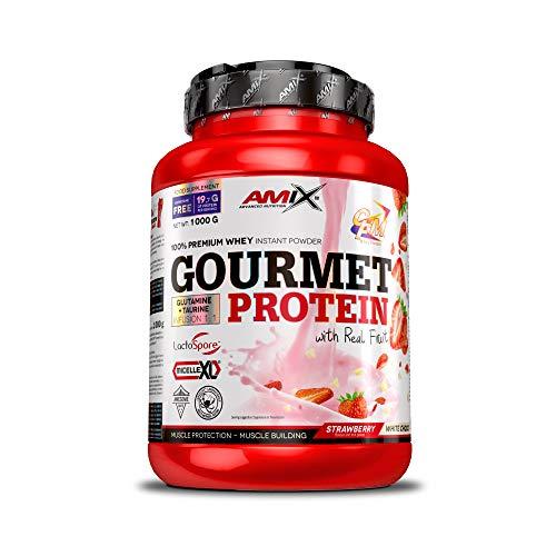 Amix - Proteína Gourmet Protein, Ayuda a Aumentar la Masa Muscular, Con Trozos de Fruta, Rica en Aminoácidos Esenciales, Glutamina y Taurina, 1 Kg, Sabor Fresa y Chocolate Blanco