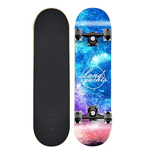Taisei Monopatín De Longboard Profesional Complete 9 Capas De Plataforma 31'x8 Sky Sky Skate Skate Skate Maple Wood Longboards para Adultos Adolescentes Jóvenes Principiantes para Niños Niños Niños