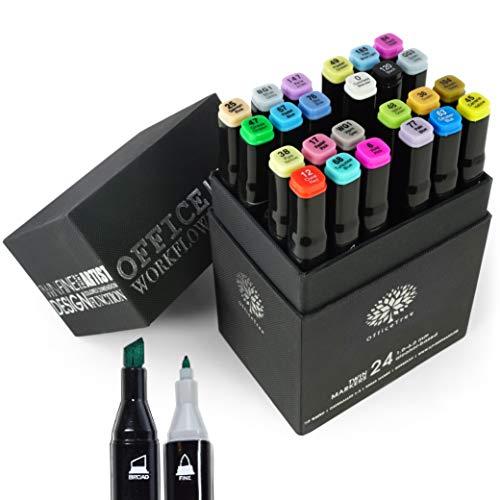 OfficeTree 24 Alkohol Marker - Weiche Farben - Twin Marker zum Zeichnen und Malen - Auch als Graffiti Stifte