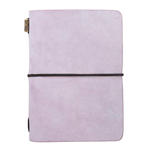 ZLYC - Taccuino vintage fatto a mano, in pelle, ricaricabile, formato passaporto, diario e diario (viola)