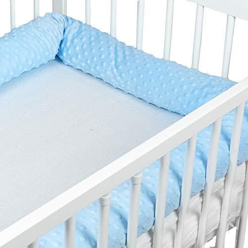 Bettschlange baby Nestchenschlange Bettrolle - Bettumrandung Babybettschlange Babybett umrandungen Babynestchen für Kinderbett (Hellblau Minky, 150 cm)