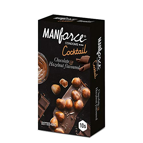 Manforce Cocktail Condoms (Dotted-Rings), Hazelnut & Chocolate Flavoured- 10 Pieces