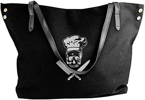 Skull Chef Cooking Skull Hat Grill Master Ladies Umhängetasche Handtaschen Canvas Shoulder Bag Handbags