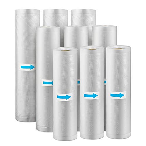 HENMI Vakuumrollen 9 Rollen Vakuumierfolie - Profi Vakuumbeutel für alle Folienschweißgeräte,BPA-Frei folienrollen für Mikrowellen und Sous Vide, Gefrierbeutel Wiederverwendbar (20cm,25cm,28cm*500cm)