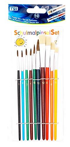 TSI 49110, farbig, Haarpinsel 1,2,3,4,6,1-Borstenpinsel 6,8,10,12, 10 Pinsel
