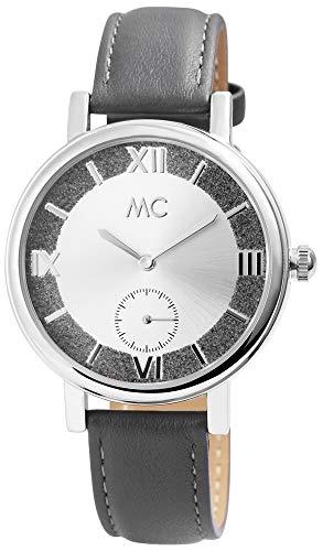 MC Timetrend Germany Damenuhr Silberfarbig Grau Analog Edelstahl Leder Armbanduhr