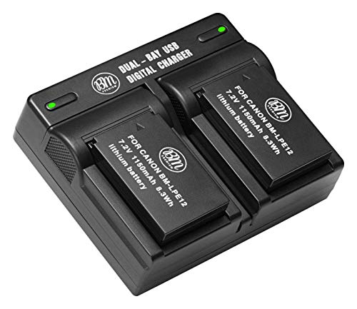 BM Premium 2-Pack of LP-E12 Batteries and USB Dual Battery Charger for Canon EOS-M, EOS M2, EOS M10, EOS M50, EOS M50 Mark II, EOS M100, EOS M200, SX70 HS, Rebel SL1 Digital Cameras