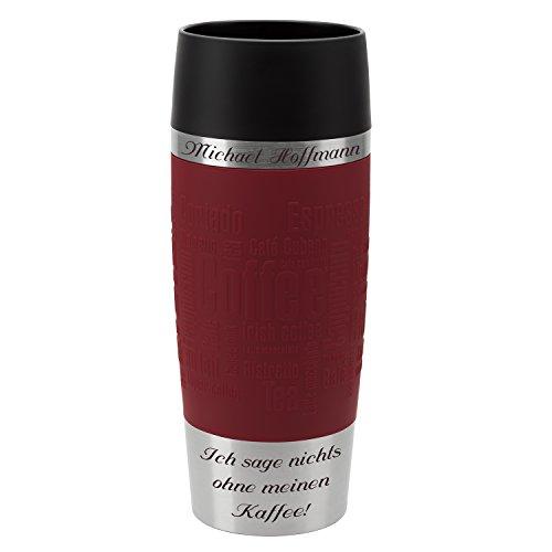 Emsa Thermobecher Travel Mug Rot 360 ml mit persönlicher Rund-Gravur gelasert Edelstahl Soft-Touch-Manschette Quick Express Verschluss