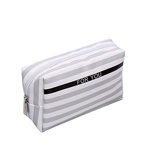 NYKKOLA Bolsa de cosméticos impermeable de la PU a rayas de maquillaje bolsa de viaje al aire libre cosmética bolsa de almacenamiento inodoro artículos monedero
