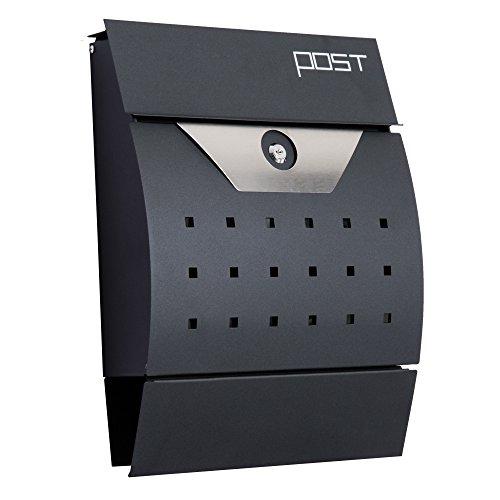 HOMCOM Briefkasten Postkasten mit Zeitungsfach abschließbar 2 Schlüssel Stahl Schwarz 35 x 9,5 x 44,5cm