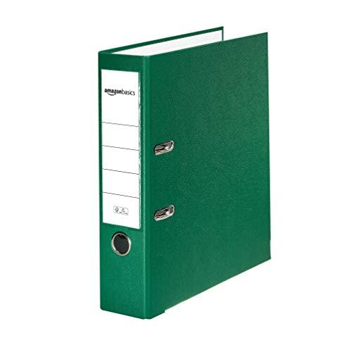 Amazon Basics - Archivador de palanca, cubierta de PP, lomo con bolsillo, Certificación FSC, lomo de 80 mm de ancho, paquete de 10, verde