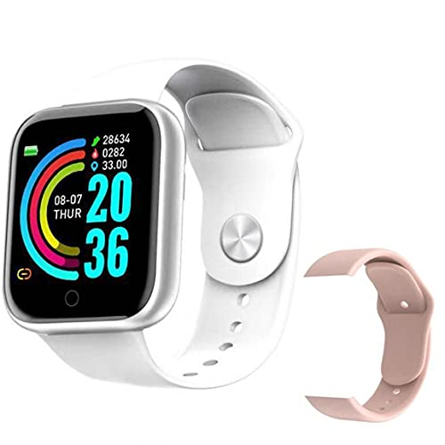 Eaarliyam Relojes Inteligentes A Prueba de Agua Bluetooth Y68 Pulsera Inteligente Rastreador de Fitness con Correa de Repuesto Presión Arterial Prueba de Ritmo cardíaco Blanco