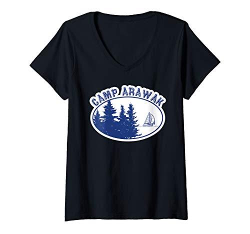 Womens Camp Arawak Shirt Retro Summer Camp V-Neck T-Shirt