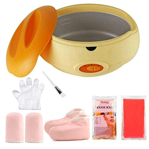 Calentador de parafina Baño de parafina Calentar muy Rápido Calentador de Parafina para Manos y Pies Juego botines aguantes+parafina 900G (KIT-Naranja)
