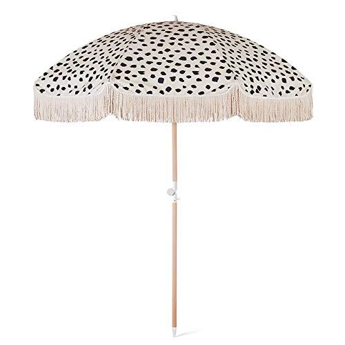HH- Sombrillas Sombrilla de Playa Parasol de Jardín de 6.5 Pies / 2 M con Flecos de Borlas, Protección Solar 100% UV, Portátil Y Fácil de Instalar en La Arena