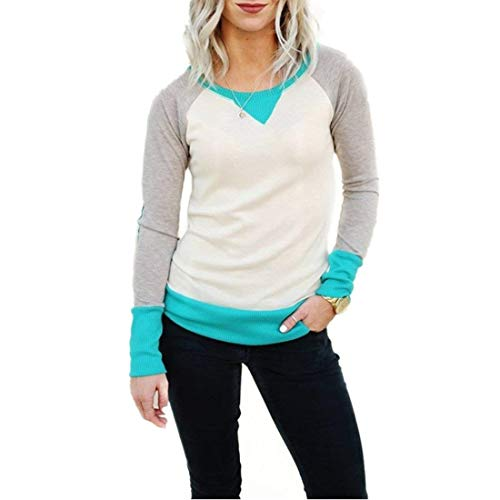 Damen Kontrastfarbe Baumwoll Sweatshirt Basic Jumper Mit Ellenbogen Patch Classic Shirt Langarm Rundhals T-Shirt Tops Bluse Frauen (Color : Grün, Size : L)
