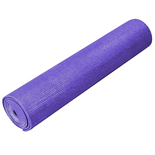 """YogaDirect 1/4"""" Deluxe Extra Thick Yoga Sticky Mat, Purple"""