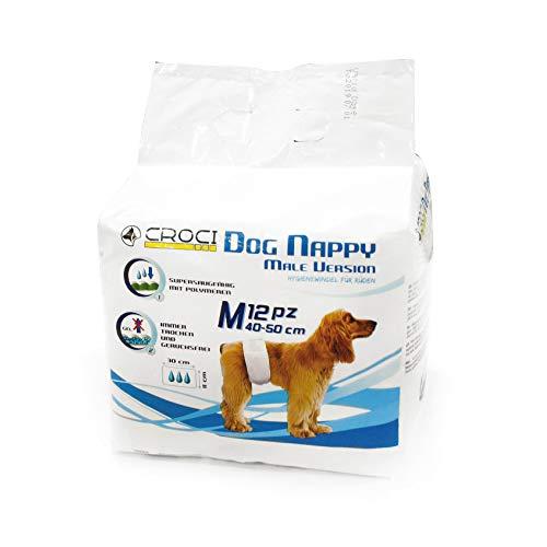 CROCI DOG NAPPY FASCIA MASCHI, Pannolini usa e getta per cani maschi, Protezione igienica per Cani, Soluzione anti-perdita, 12 strisce, Dimensioni 40-50 cm