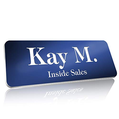 """Personalized Name Tags with Pin, Magnetic or Adhesive Backing, Choice of 15 Colors, 1"""" x 3"""" Classic Collection by My Sign Center, 20102A4"""