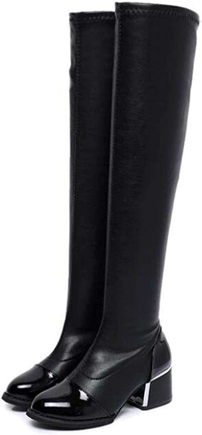 2018 New Winter Knee Boots, Women's Thick Heel Boots, Round Head Boots, Elastic BootsHigh Boots Office & Career Party & Evening (color   Black, Size   39)