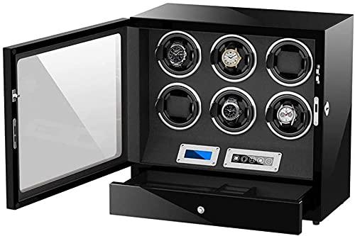 PLMOKN DFJU Automatische Uhr Wickler Box 6 Einstellbare Uhr Kissen Touch-Display-Bildschirm-LED-Licht-Ruhmotor für Mann Frauen Uhren Exquisite/rot (Color : Black, Size : 27 X 21 X 39Cm)