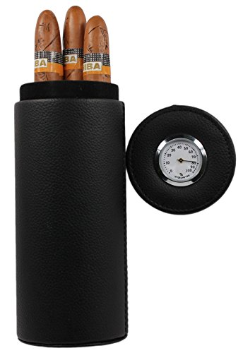 AMANCY Popular Cedar Wood Lined Portable Travel Leather Cigar Humidor Case,Packed by Nice Gift Box