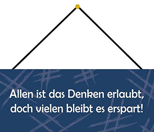 Schatzmix Blechschild Allen ist Das Denken erlaubt Metallschild Wanddeko 27x10cm m. Kordel Señal metálica, hojalata, Multicolor, 27x10 cm
