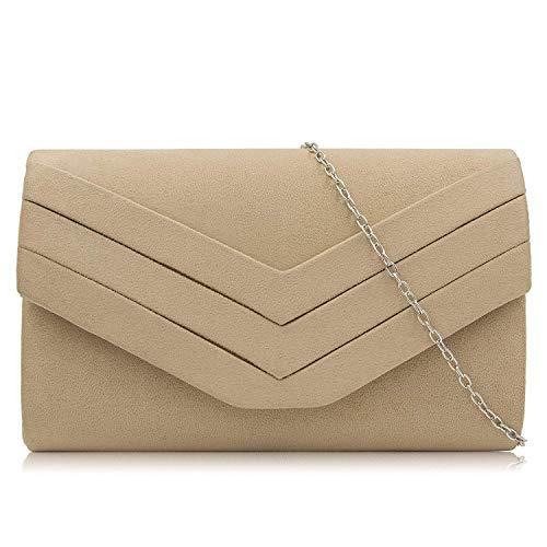 Milisente Damen Clutch, Wildleder Clutch Umschlag Crossbody schultertasche Clutch Tasche Abendtasche (Beige)