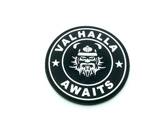 Patch Nation Valhalla Awaits Wikinger Schwarz PVC Airsoft Paintball Klett Emblem Abzeichen
