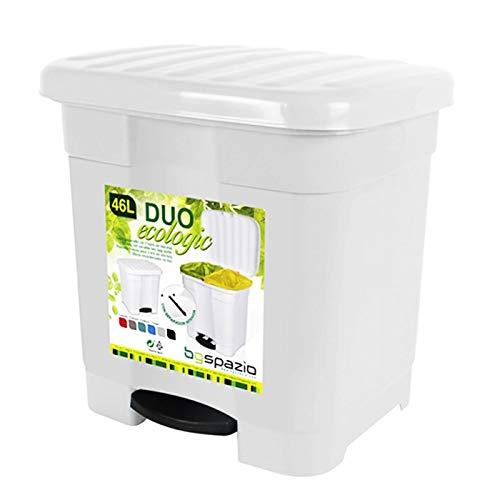 Cubo de Basura Pedal 2 compartimiento 46 litro Plástico 45 x 41 x 47 cm ,Contenedor de basura 2 Divisiones Interiores multicolores (Blanco)