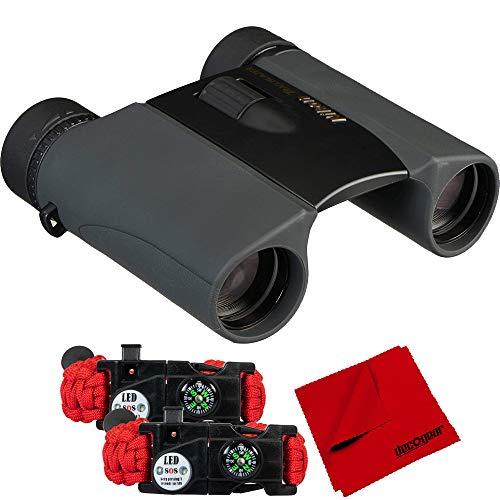 Nikon 8217 Trailblazer 8x25 ATB Waterproof & Fogproof Binoculars Black Bundle w/Deco Essentials 2-Pack Tactical Emergency Paracord Bracelet w/SOS Multi Tool + 6 x 6 inch Microfiber Cleaning Cloth