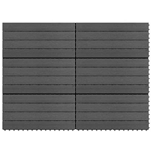 SHUJUNKAIN Baldosas 6 Unidades WPC Gris 1m² 60x30 cm Bricolaje Materiales de construcción Suelos y moquetas Gris