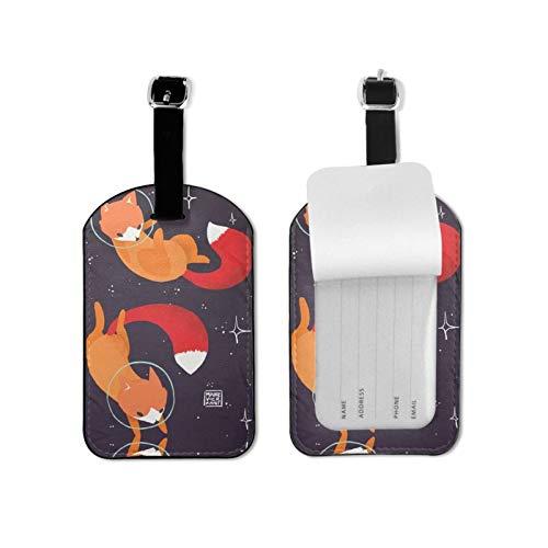 Etiqueta del equipaje de los zorros del espacio para el equipaje identificador del viaje de la microfibra del cuero de la PU 2.7*4.3 pulgadas