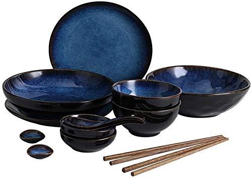 ZGYZ Juego de vajilla,Juegos de Cuencos,Juego de vajilla de cerámica Azul Retro,Cuenco de Sopa Grande/Cuenco de arroz/Plato/Cuchara/Palillos,Juego de vajilla para 1-4 Personas (14 Piezas)