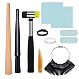 yinhua 11 Pcs Ring Mandrel Kit for Ring Making with Ring Sizer Measuring Tool, Wood Mandrel, Rubber Hammer, Jewelry Cleaning Cloths, Polishing Tool