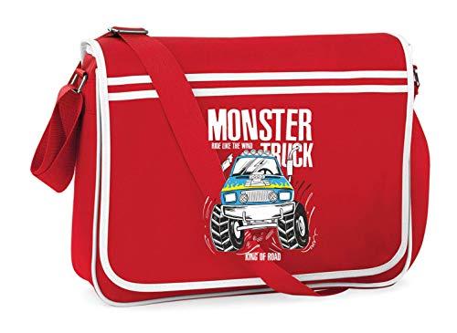 Druckerlebnis24 Schultertasche - Monster Truck Cartoon Automobil - Umhängetasche, geeignet für Schule Uni Laptop Arbeit