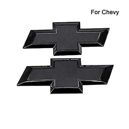 Front & Tailgate Bowtie Emblems,Black Front Rear 3D Logol Emblem Compatible for most 2016-2018 Chevy GM Silverado 1500 Full Black or chrome