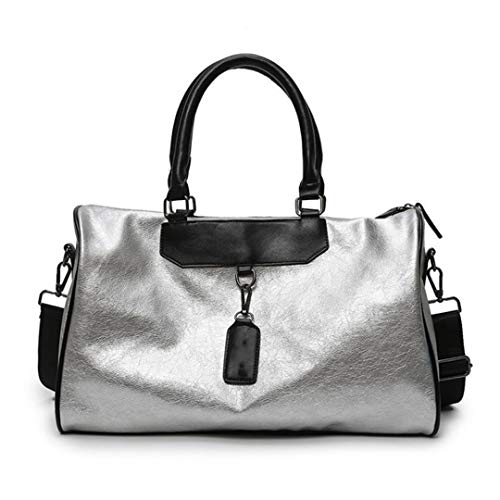 Luggage Bag PU Leather Large Capacity Waterproof Fitness Short Distance Travel Bag Korean Version, silver (Silver) - TB190803
