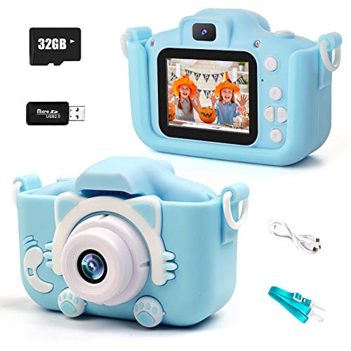 """Agedate Kids Camera for Girls Boys,1080P Selfie Camera for Kids,Digital Video Recorder Camera,2.0"""" IPS Screen 20.0MP Camcorder Front Rear Dual-Lens 32GB SD Card,Ideal Xmas Toy Gifts for 3-12 Y (Blue)"""