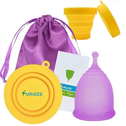Copa Menstrual Furuize Sport con Taza de Esterilización. Silicona suave de grado...