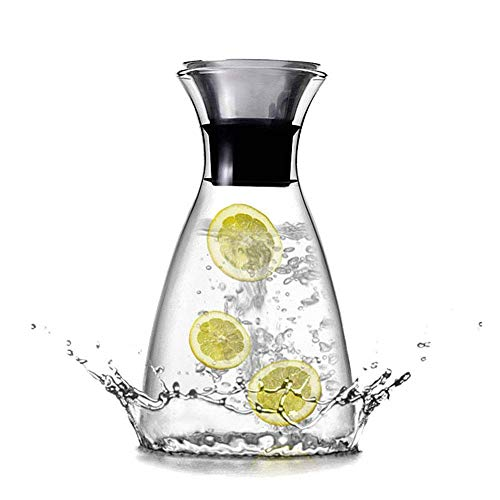 KEMIYIXIAN 34 Oz Glass Water Carafe with Lid, 1L Premium Borosilicate Carafe Pitcher, Heat-resistant, Suit for Hot and Cold Beverage, Juice and Wine, etc.
