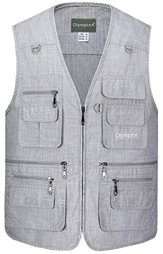 Herren Tops Outdoor Sommer Freizeit Baumwolle Lightweight Angeln Weste Westen Herrenmode Rmellose Jacke Multi Pocket Verschluss Gilets (Color : Hellgrau, Size : L)