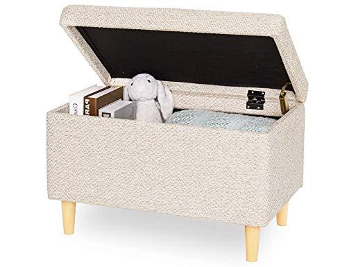 Sitzbank mit Stauraum Aufbewahrungsbox aus Leinen Sitzhocker und Deckel mit Holzfüßen Truhenbank Stoffbezug Gepolsterte Betthocker Modern Design für Wohnzimmer Büro Schlafzimmer Flur Beige - 2