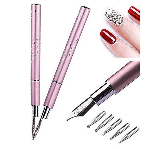 ArtiCure Nail Art Kalligraphiestift, Nail Art Paint Pen Füllfederhalter, mit 5 Ersatzköpfen, Punktierwerkzeugen für DIY Nail Art (2St)