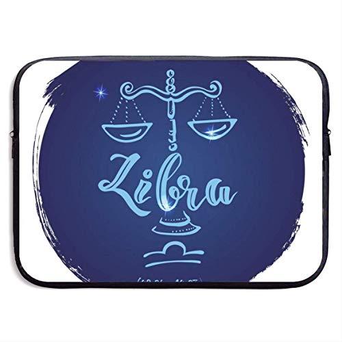 Estuche para portátil Redondo Signo del Zodiaco Libra Estuche Protector para portátil Estuche Protector Maletín de Neopreno Resistente al Agua 15 Pulgadas