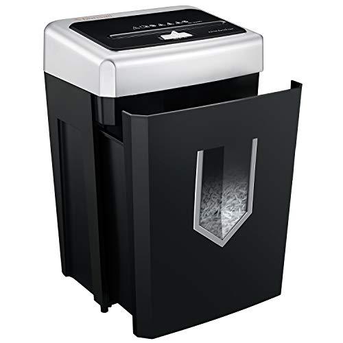 Bonsaii 14 Blatt Kreuzschnitt Aktenvernichter 30-minütige ununterbrochene Laufzeit 18L Papierkorb für Papier Kreditkarten Heftklammern Büro Leise Zerkleinerungsmaschine mit Jam Proof System (C169-B)