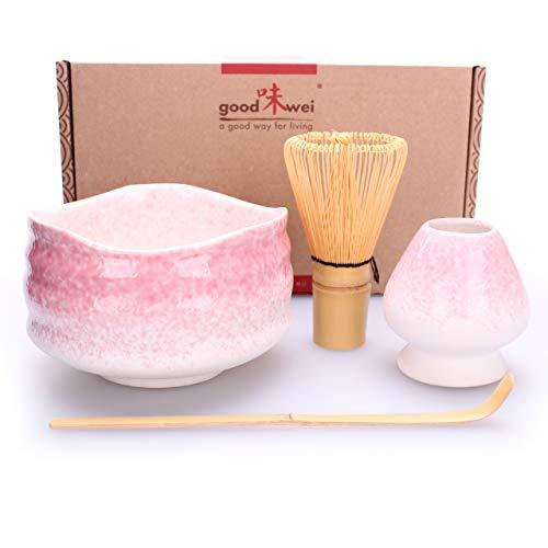Goodwei Japanisches Matcha Komplett-Set mit hochwertiger Teeschale (Sakura, 120)