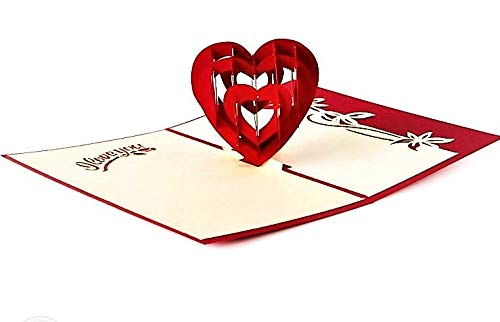LATHEA Red Love Heart 3D Pop Up Card Romantic Valentines Day, Wedding Invitation, Birthday, Anniversary Card