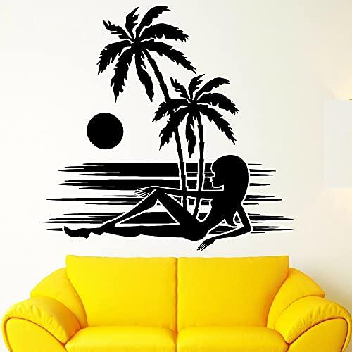Sexy Girl vinilo pared calcomanía silueta Sexy Girl ventana playa puesta de sol palmera familia pared pegatina A6 68x42cm