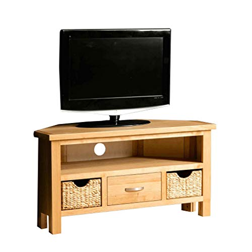 RoselandFurniture London Oak Corner TV Unit with Baskets | Contemporary 100 cm Light Solid Wood Television Cabinet Stand Suitable for TVs up to 45 inches for Living Room or Bedroom, Fully Assembled